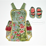 Romper & Shoes, Baby Girl 0000, CHINOISERIE Chic, Birds Floral, Cinnamon Sage